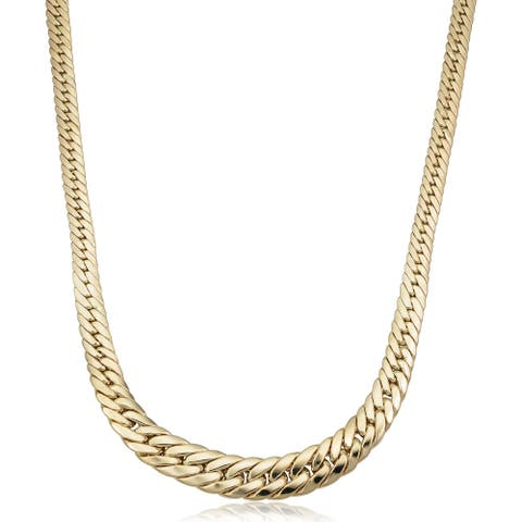 14k Yellow Gold Graduated Cuban Link Necklace (17.5 inches)
