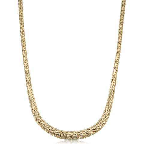 14k Yellow Gold Polished Graduated Weave Link Necklace (18 inches)