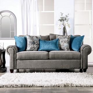 Copper Grove Telavi Grey Sofa with Nailhead Trim