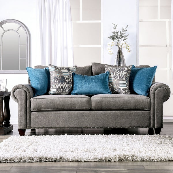 Shop Copper Grove Telavi Grey Sofa with Nailhead Trim - On ...
