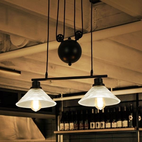 Laxmi Black Industrial Style 2-light Chandelier with Ridged Glass Shades. Opens flyout.