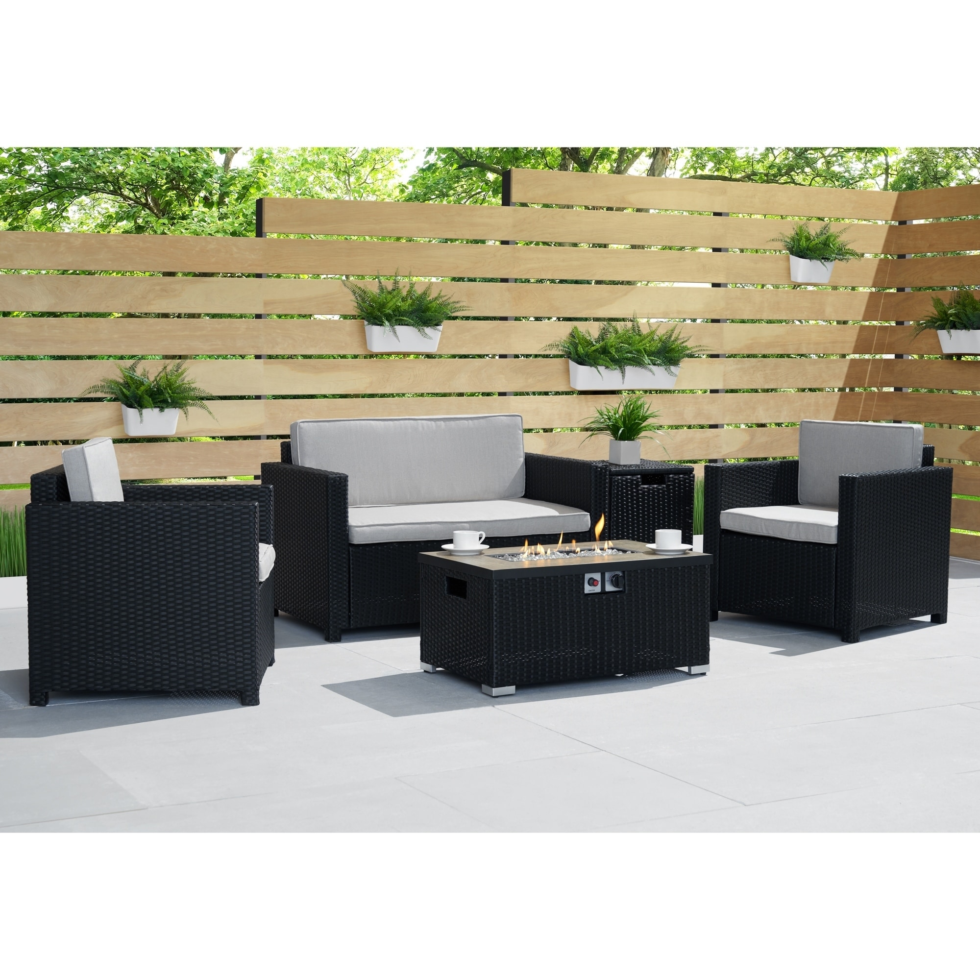 Boulder 4pc Fire Seating Set In Black By Sego Lily