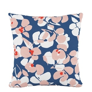Skyline Fluffed Polyester 18 x 18 Pillow in Color Block Floral Navy Blush