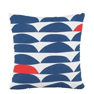 Skyline Fluffed Polyester 18 x 18 Pillow in Halfmoon Navy Red