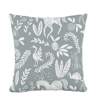 Skyline Fluffed Polyester 18 x 18 Pillow in Hatfield Fauna Grey Ground Mint