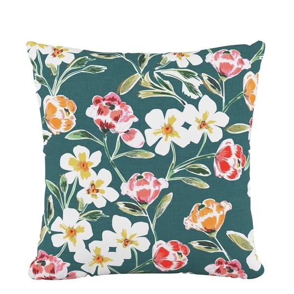 Skyline Fluffed Polyester 18 x 18 Pillow in Summer Floral Green