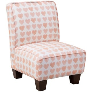 Skyline Furniture Kids Slipper Chair in Hearts Peach