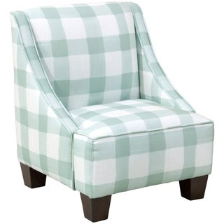 Skyline Furniture Kids Swoop Arm Chair in Buffalo Square Mint