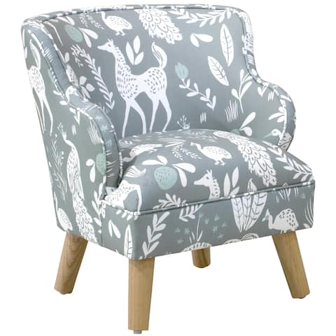 Skyline Furniture Kids Modern Chair in Hatfield Fauna Grey Ground Mint