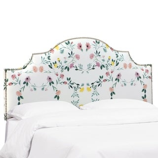 Porch & Den Gales Floral Notched Headboard with Nailhead Trim