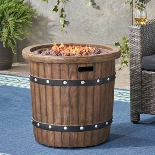 Christopher Knight Home Garland Outdoor 25-inch Lightweight Concrete Round Propane Fire Pit