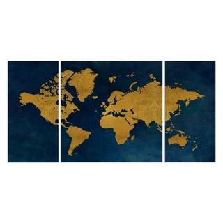 'Golden Blue Map' Canvas Wall Art