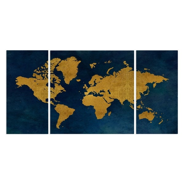 'Golden Blue Map' Canvas Wall Art