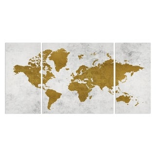Wexford Home 'Golden World Map' Premium Canvas Multi-piece Hand-wrapped Giclee Wall Art