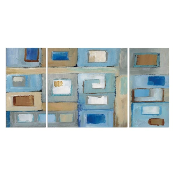 Wexford Home 'Variation on Greek Key II' Premium Canvas Multi-piece Hand-wrapped Giclee Wall Art