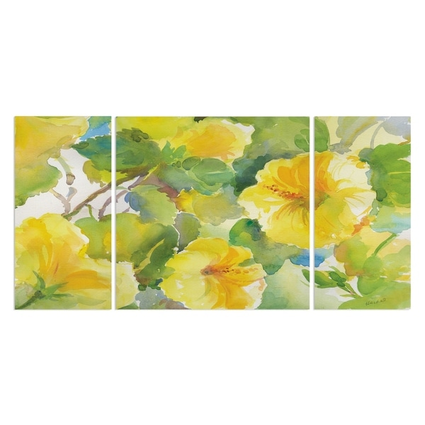 Wexford Home 'Citrus Hibiscus II' Premium Canvas Multi-piece Hand-wrapped Giclee Wall Art