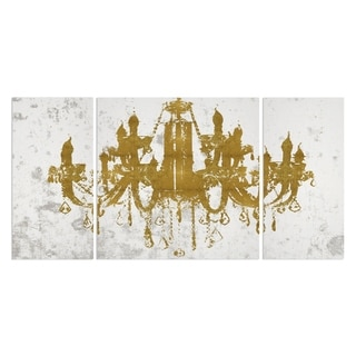 'Champagne Gold Diamond Chandelier' 3-piece Canvas Wall Art