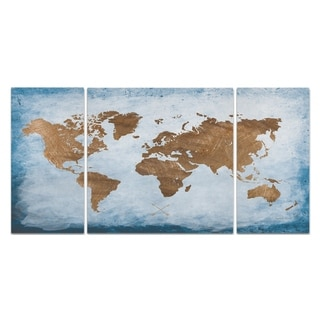 Wexford Home 'Washy World Map' Canvas Wall Art (Set of 3)