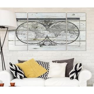 Wexford Home 'World Map Hemispheres' Premium Multi Piece Gallery-wrapped Canvas Art Print Set