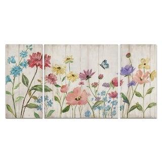 Wexford Home 'Wildflower Flutter On Wood' Premium Multi-piece Art