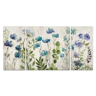 'Blue Meadow' 3-piece Canvas Wall Art