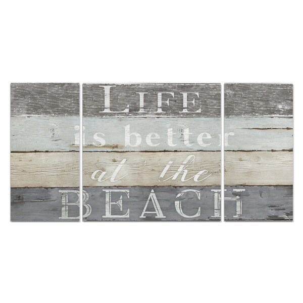 Wexford Home 'Life Better Beach' Premium Canvas Multi-piece Hand-wrapped Giclee Wall Art