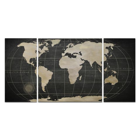 Wexford Home 'Vintage World Map' 3-piece Wall Art