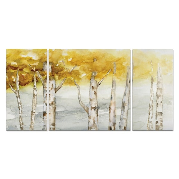 Wexford Home 'Golden Trees' Canvas Wall Art (Set of 3)