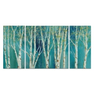 Wexford Home 'Birch on Blue' Canvas Wall Art (Set of 3)