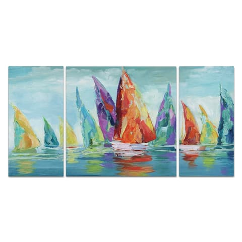 Wexford Home 'Fine Day Sailing I' Canvas Wall Art (Set of 3)