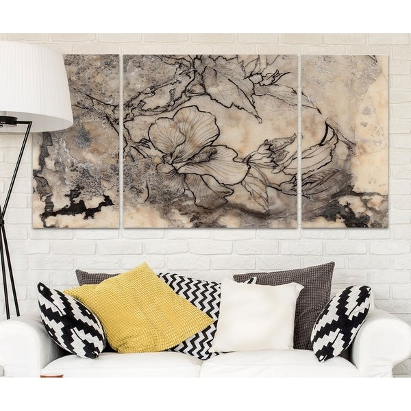 Wexford Home 'Tattooed Floral I' Premium Canvas Multi-piece Hand-wrapped Giclee Wall Art