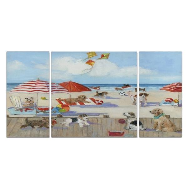 Wexford Home 'Beach Bark Park II' Canvas Wall Art (Set of 3)