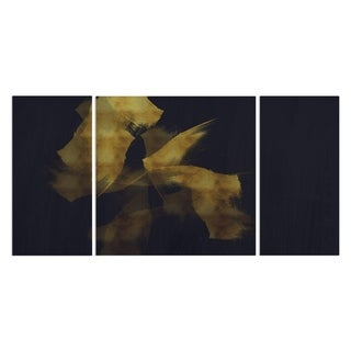 Wexford Home 'Gold on Blue' Canvas Wall Art (Set of 3)