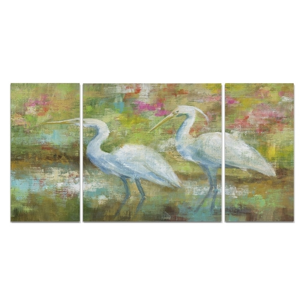 Wexford Home 'Egret Tapestry' Canvas Wall Art (Set of 3)