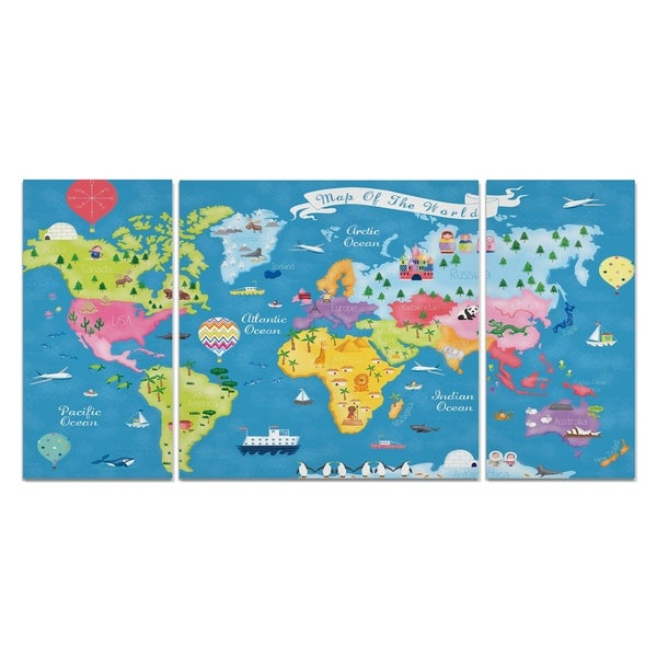 Wexford Home 'Trip Around the World' Premium Canvas Multi-piece Hand-wrapped Giclee Wall Art