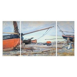 Wexford Home 'Boat on the Beach' 3-piece Wall Art