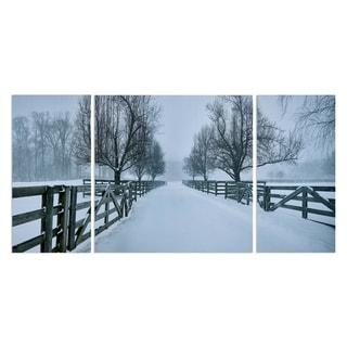 Wexford Home 'Snowy Road II' Premium Canvas Multi-piece Hand-wrapped Giclee Wall Art