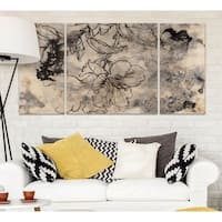 Wexford Home 'Tattooed Floral II' Premium Canvas Multi-piece Hand-wrapped Giclee Wall Art
