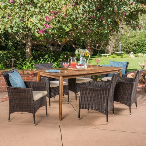 Jaxon Outdoor 7 Piece Multibrown PE Wicker Dining Set with Rectangular Dining Table by Christopher Knight Home