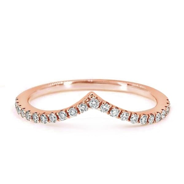 CZ Wave Chevron Stackable Wedding Ring Band, in Gold Plating, 1.5mm. Opens flyout.