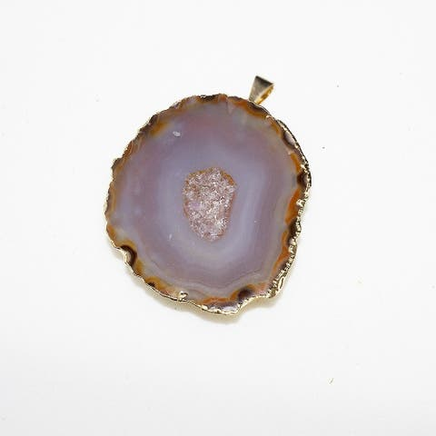 Freedom Natural Color Onyx Druzy Agate Geode Pendant