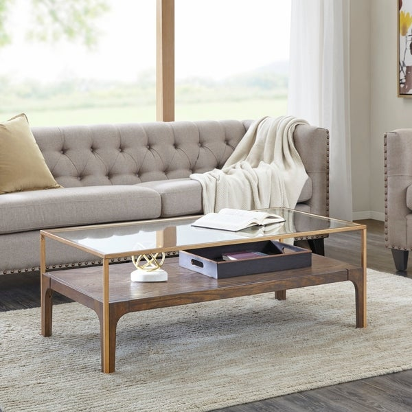 """Madison Park Shannon Antique Gold Coffee Table - 47""""W x 24""""D x 17.25""""H"""