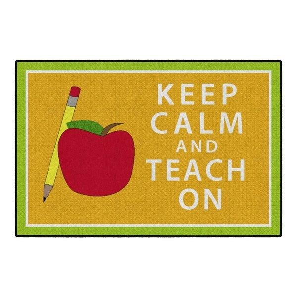 Flagship Carpet Kids Nylon Keep Calm and Teach On Classroom Seating Rug, Orange and Green - 6' x 4' - 6' x 4'