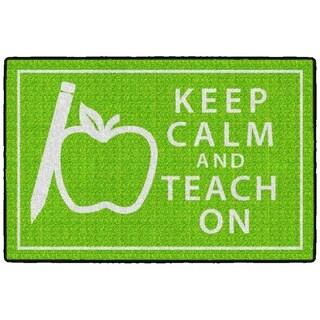 Flagship Carpet Kids Nylon Keep Calm and Teach On Classroom Seating Rug, Green - 3' x 2' - 3' x 2'