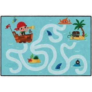 Flagship Carpet Kids Nylon Pirate Maze Classroom Seating Rug - 4' x 6' - 4' x 6'