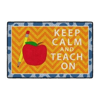 Flagship Carpet Kids Nylon Keep Calm and Teach On Classroom Seating Rug, Orange and Blue - 6' x 4' - 6' x 4'