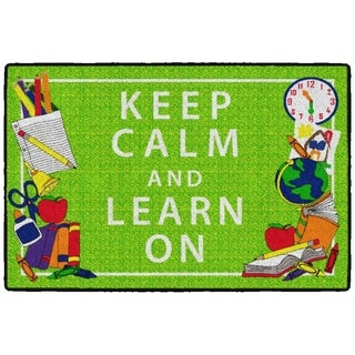 Flagship Carpet Kids Nylon Keep Calm and Learn On Classroom Seating Rug, Green - 3' x 2' - 3' x 2'