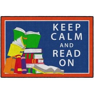 Flagship Carpet Kids Nylon Keep Calm and Read On Classroom Seating Rug - 6' x 4' - 6' x 4'