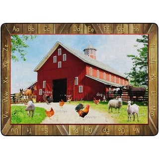 "Flagship Carpet Kids Nylon See My Barn Animals Classroom Seating Rug - 6' x 8'4"" - 6' x 8'4"""