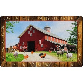 "Flagship Carpet Kids Nylon See My Barn Animals Classroom Seating Rug - 7'6"" x 12' - 7'6"" x 12'"